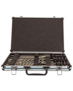 Boor-/beitelset 17-delig SDS-PLUS, in aluminium koffer, fabr. Makita - type D-42444