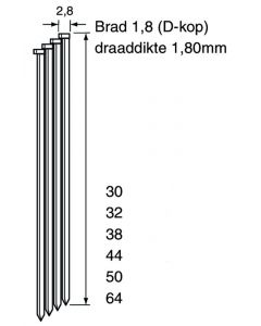 Doos à 4.000 gegalvaniseerde DA-brads - draaddikte 1.8mm, fabr. DutackPro