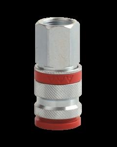 Snelkoppeling met rode ring en kunststof slotring EURO 1/4'inw, fabr. JWL