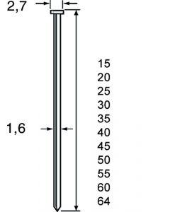 Doos à 2.500 RVS brads - draaddikte 1.6mm, fabr. DutackPro